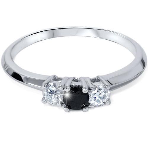 زفاف - 1/2CT Black & White Diamond 3 Stone Engagement Ring 14K White Gold