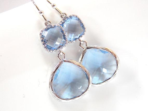 Wedding - Light Blue Earrings, Aquamarine, Soft Blue, Light Sapphire, Glass, Silver, Wedding Jewelry, Bridesmaid Earrings, Bridal Earrings Jewelry