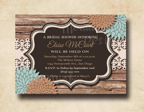 Mariage - Rustic Bridal Shower Invitation, Wedding Shower Invitation, Printable Invites, Wood Lace Floral, Eloise