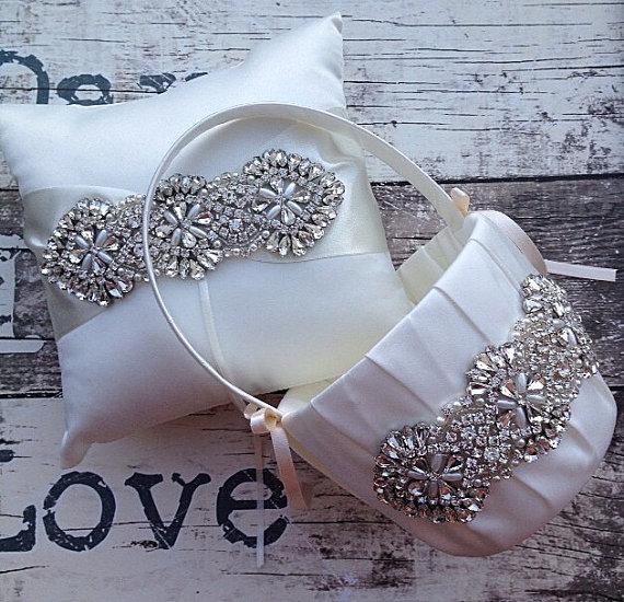 Wedding - Flower Girl Basket Ring Bearer Pillow Set / Ring Bearer Pillow / Flower Girl Basket / Wedding Basket / Rhinestone Basket / Rhinestone Pillow