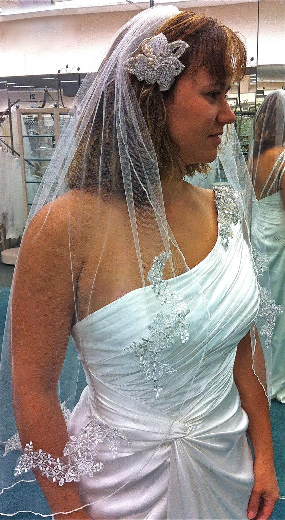 Свадьба - Lace Veil with  flower appliqués  adorned with Swarovski  rhinestones, fingertip length, accept custom orders