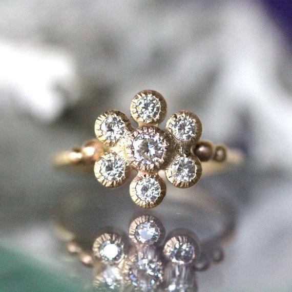 زفاف - Moissanite In 14K Yellow Gold Flower Ring, Vintage Inspire, Engagement Ring, Gemstone Ring, Stacking Ring, Anniversary Ring - Made To Order