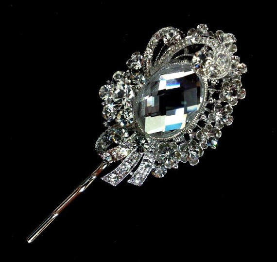 Свадьба - Bridal Hair Pin, Swarovski Crystal Bobby Pin, Bridesmaids Headpiece, Victorian Hair Jewelry, DESY