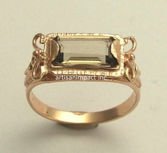 Свадьба - RESERVED to Jedda - PAYMENT 3 - 14K Rose Gold Ring, smokey quartz ring, wedding ring, bridal jewelry - The sky is the limit.