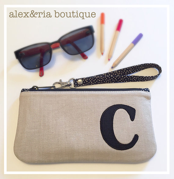 Personalized Small Cosmetic Bag With Wrist Strap  Bridesmaid Clutch  French Country Wedding ...