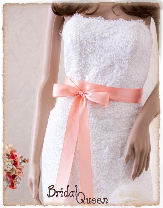 Свадьба - PEACH Bridal Sash, Satin Ribbon Sash, Wedding Sash, Satin Bridal Sash, Bridesmaids Sash, Bridal Belt