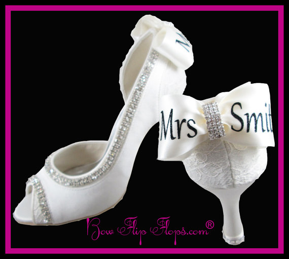 Mrs New Last Name Personalized Bridal Heels Wedding Ivory Shoes 3 5 Inch P Toe Satin Bow Rhinestone Bling Pumps Bride Gift