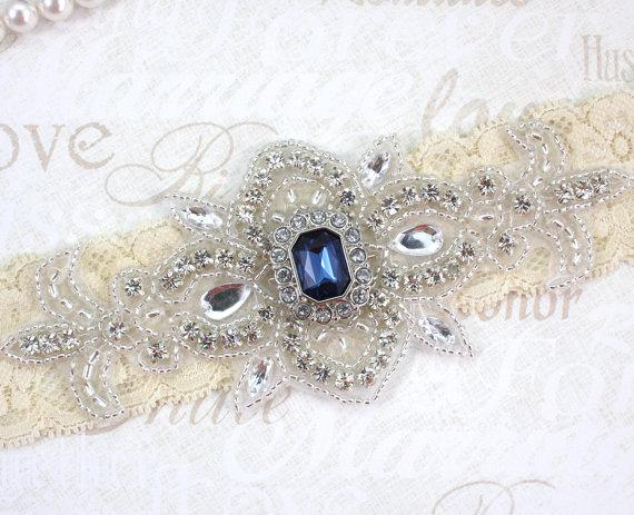 Свадьба - MADRID II - Sapphire Blue Wedding Keepsake Garter, Lace Garter, Rhinestone Crystal Bridal Garters, Something Blue