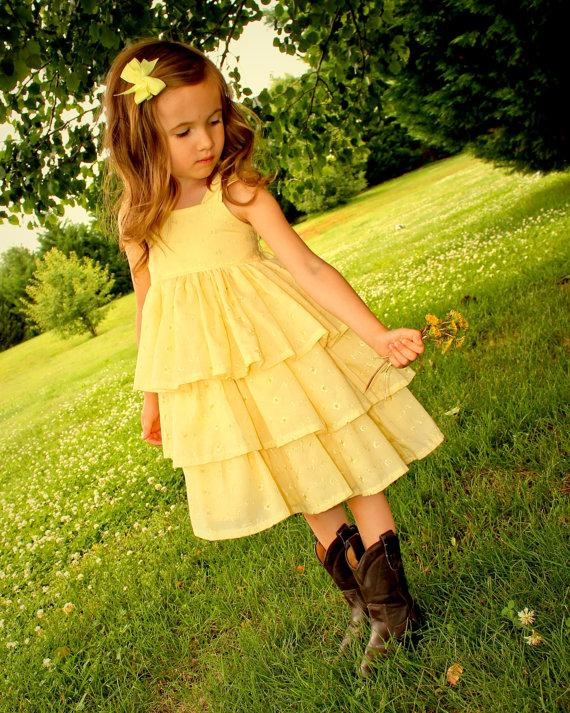 Wedding - Yellow Eyelet Flower Girl Dress, Girls Easter Dress, Girls Yellow Dress, Rustic Wedding Dress, Western Wedding, Girls Ruffle Dress