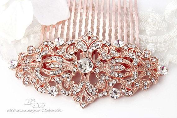 Свадьба - Rose gold hair accessories wedding hairpiece bridal hair comb viintage style hair jewelry Victorian Art Deco hair comb 5169RG
