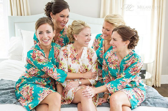 Teal Bridesmaids Robe Sets Kimono Crossover Gifts Getting Ready Robes Bridal Party Fl Dressing Gowns