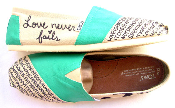 Wedding - The Iris - TOMS Shoes Teal and Cream Custom TOMS