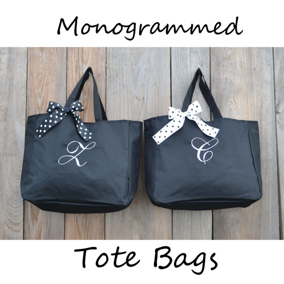 Hochzeit - 5 Personalized Bridesmaid Gift Tote Bags Personalized Tote, Bridesmaids Gift, Monogrammed Tote