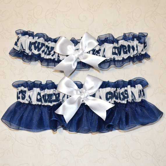 Hochzeit - Wedding Garter Set Handmade with Dallas Cowboys fabric FFCM Blue