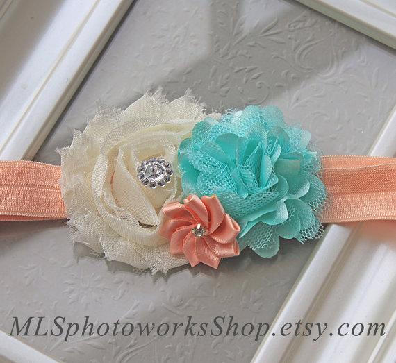 Hochzeit - Peach, Mint Green & Ivory Wedding Flower Headband - Soft Satin and Chiffon Baby Headbands - Mint and Peach Hair Bow for Wedding Flower Girls