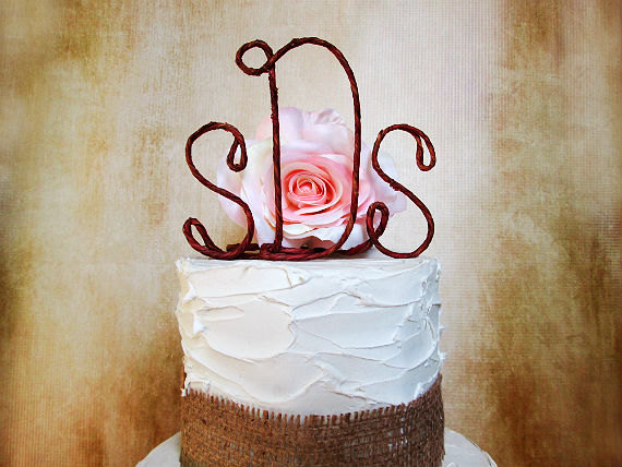 Personalized Rustic Monogram Cake Topper Shabby Chic Wedding Cake Topper With Your Initials