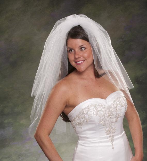 Elbow Length Two Tier Wedding Veil 30 With 24 Blusher 3 Layer Bridal Veils Ivory Diamond White