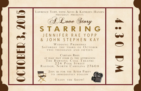 Mariage - Rush Custom Wedding Invitation Listing for jenniferyopp - Antique Movie Theater
