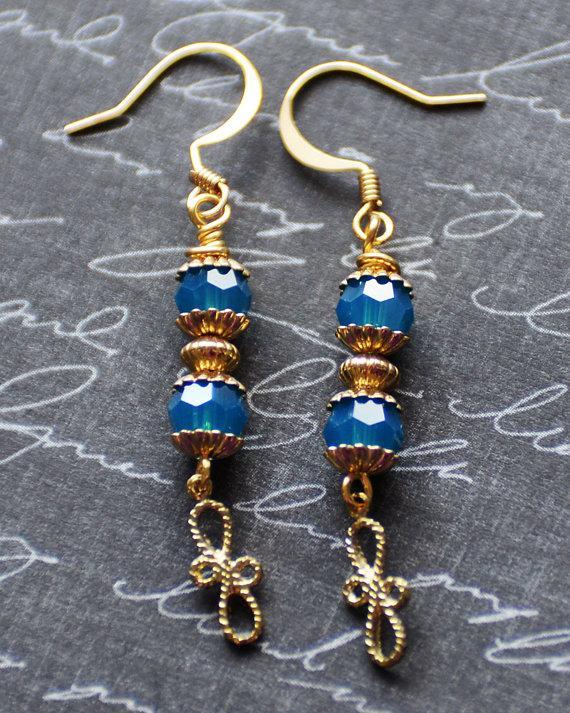 Mariage - Long Gold Earrings, Blue Gold Earrings, Something Blue, Wedding Earrings, Filigree Earrings, Blue Crystal Jewelry, SRAJD