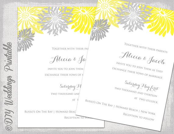 Wedding Invitation Template Yellow Gray Diy Summer Wedding