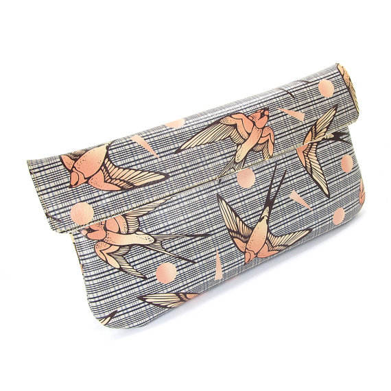 Свадьба - Leather Clutch Bag, Wedding clutch, Bridesmaid clutch, Evening Bag - Swallows With Shapes (Exclusive range)