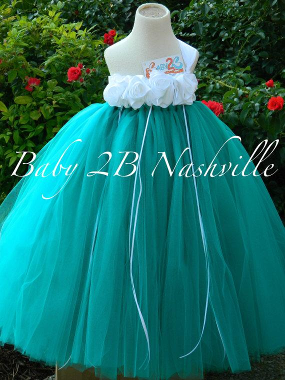 Mariage - Teal Flower Girl Dress  Wedding Flower Girl Dress in Teal and White  Baby - size 10 Girls