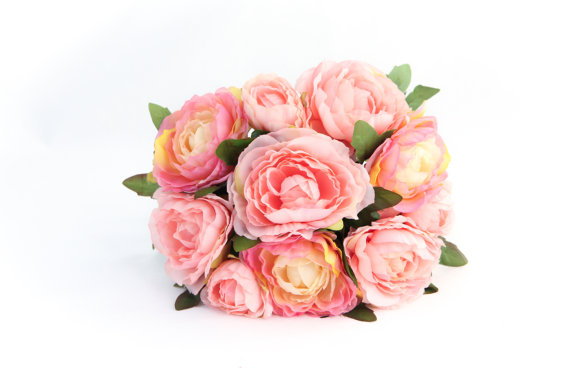 Mariage - CLUTCH BOUQUET Ruffle Petaled Ranunculus Bouquet in Two Tone Pink and CREAM - silk flowers, artificial flowers
