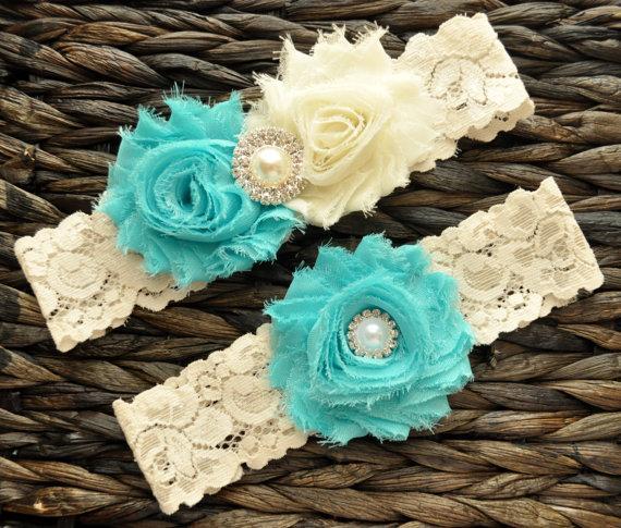 Mariage - Wedding Garter, Bridal Garter Set - Aqua Wedding Garter, Aqua Bridal Garter, Ivory Lace Garter, Ivory Wedding Garter Belt, Aqua Garter