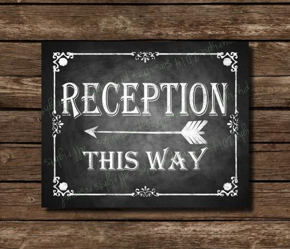 Printable Wedding Sign - Reception This Way Arrow - Chalkboard Style ...