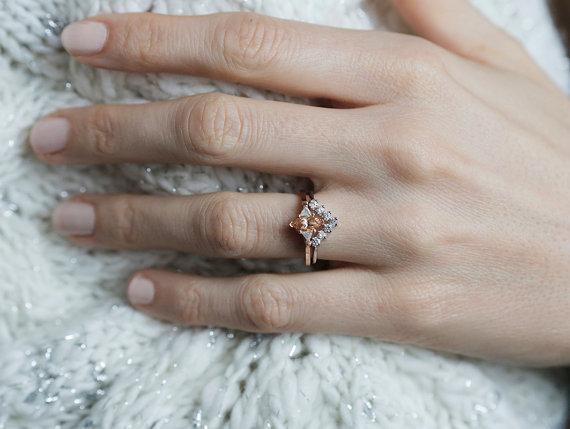 زفاف - Marquise Engagement Ring, Marquise Diamond Ring, Three Stone Ring, Diamond Wedding Set, 18k solid gold