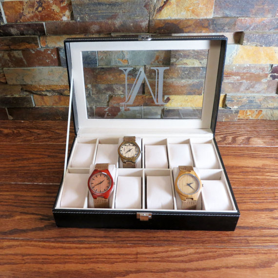 Свадьба - Personalized Watch Box Engraved, Groomsmen Gift, Best Man, Fathers Day Gift