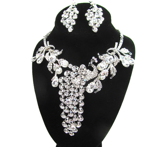 Свадьба - Rhinestone Crystal AB Peacock Statement Bridal Necklace, Wedding Necklace, Formal Necklace