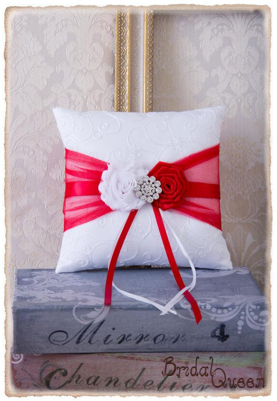 زفاف - Red Ring Bearer Pillow, Red Wedding Ring Bearer Pillow, Red Ring Bearer Pillow, Red Wedding Accessories, Custom Color Wedding