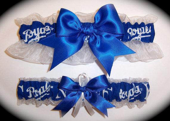 Hochzeit - Handmade Wedding Garter Set Kansas City Royals Keepsake and Toss Bridal rw1
