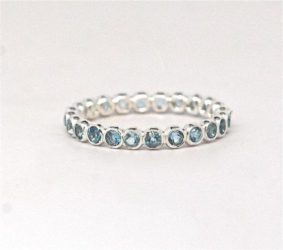 زفاف - Blue Aquamarine Gemstone Eternity Stacking Ring Recycled Sterling Silver - March Birthstone - Handmade Engagement  - Children Birthstone
