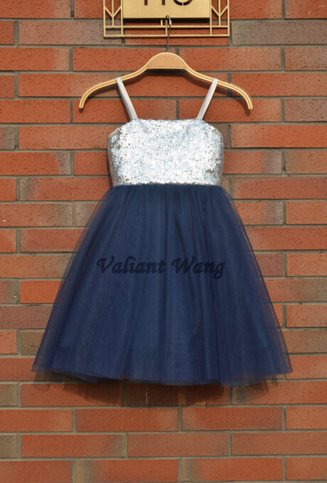 Mariage - Silver Sequin Navy Blue Tulle Flower Girl Dress Wedding Baby Girls Dress Rustic Baby Birthday Dress Knee Length