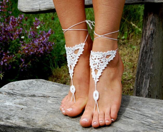 Wedding - Crochet Beach Barefoot Sandals, Wedding Accessory
