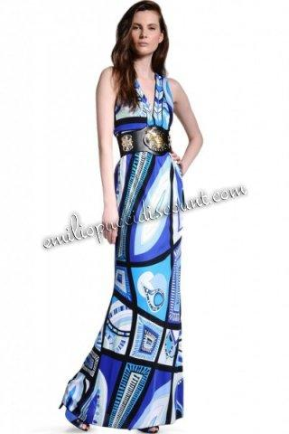 Blue Emilio Pucci V Neck Dress Wedding Sale EMILIO PUCCI V