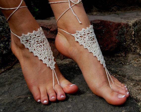 Wedding - Barefoot Sandals, Beach Wedding Shoes, Wedding Accessories, Nude Shoes, Yoga socks, Foot Jewelry