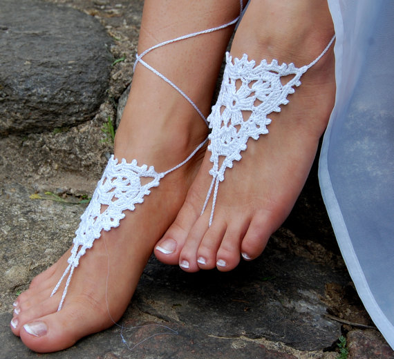 Wedding - Crochet Beach Wedding Shoes, Crochet Barefoot Sandals, Anklet, Wedding Accessories, Nude Shoes, Yoga socks, Foot Jewelry