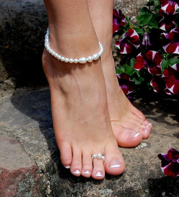 Beaded Anklet Foot Bracelet JewelryBeach Jewelry Beach Wedding Accessories Rings