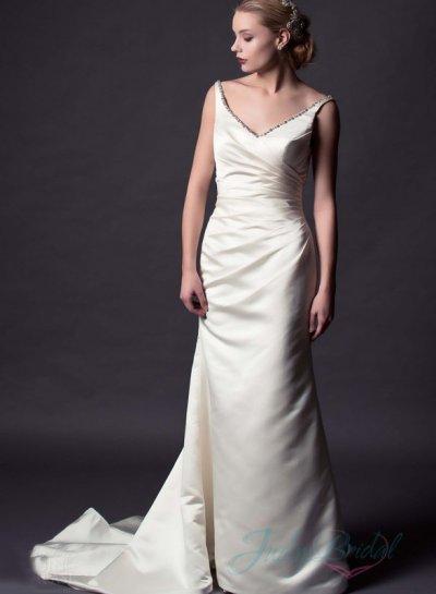 JW15152 Simple Strappy V Neck Satin Sheath Wedding Dress #2302688 ...