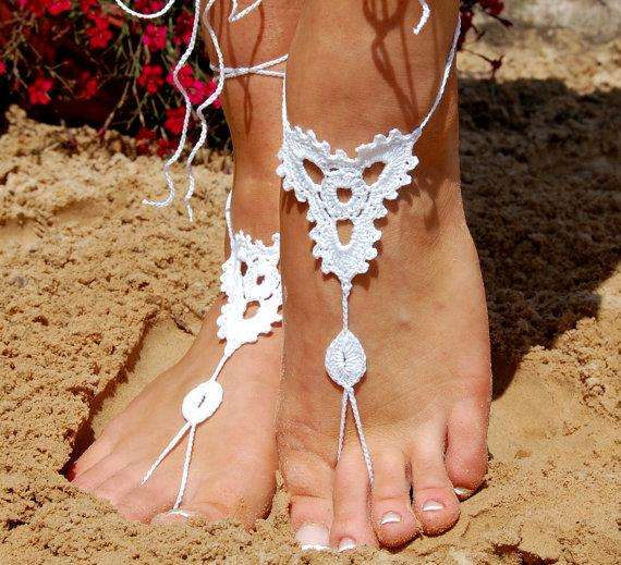 Wedding - Crochet Barefoot Sandals, Beach Shoes, Wedding Accessories, Nude Shoes, Yoga socks, Foot Jewelry