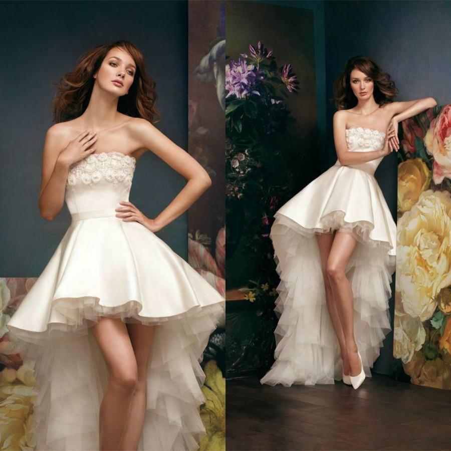 2015 Short High Low Wedding Dresses Satin Applique Bateau