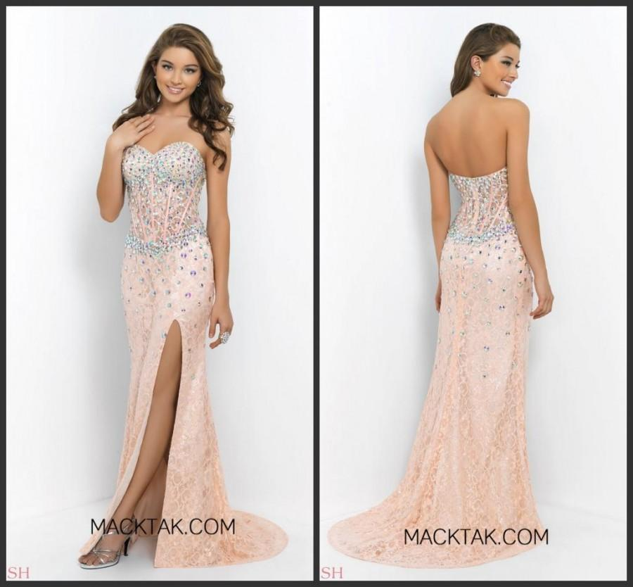 Wedding - Gorgeous Lace Crystal Evening Dresses Long Party Beaded 2015 High Split See Through Crystal Cheap Prom Dress Gowns Occasion Dresses Custom Online with $134.4/Piece on Hjklp88's Store
