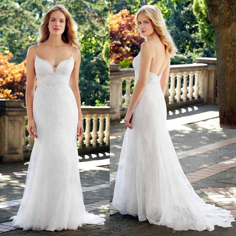 2015 summer wedding dresses white ivory spaghetti straps for White summer wedding dress
