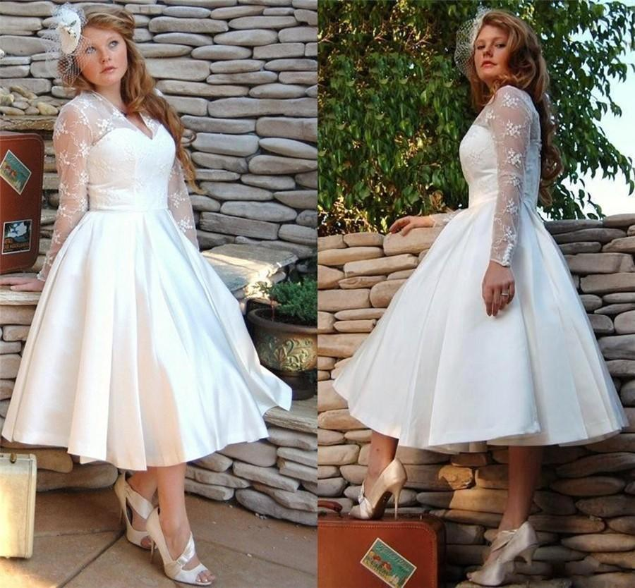 Custom Made Plus Size Vintage Short White Wedding Dresses Gowns With ...