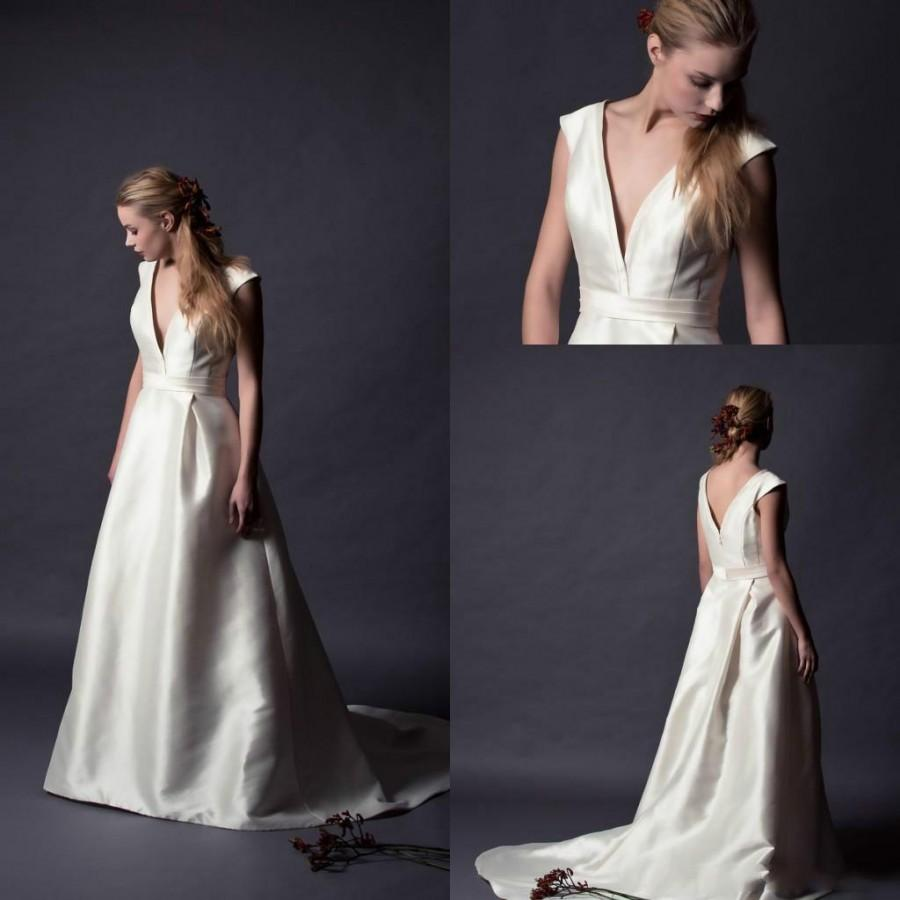 Vintage 2015 alan hannah satin wedding dresses v neck cap for V neck satin wedding dress