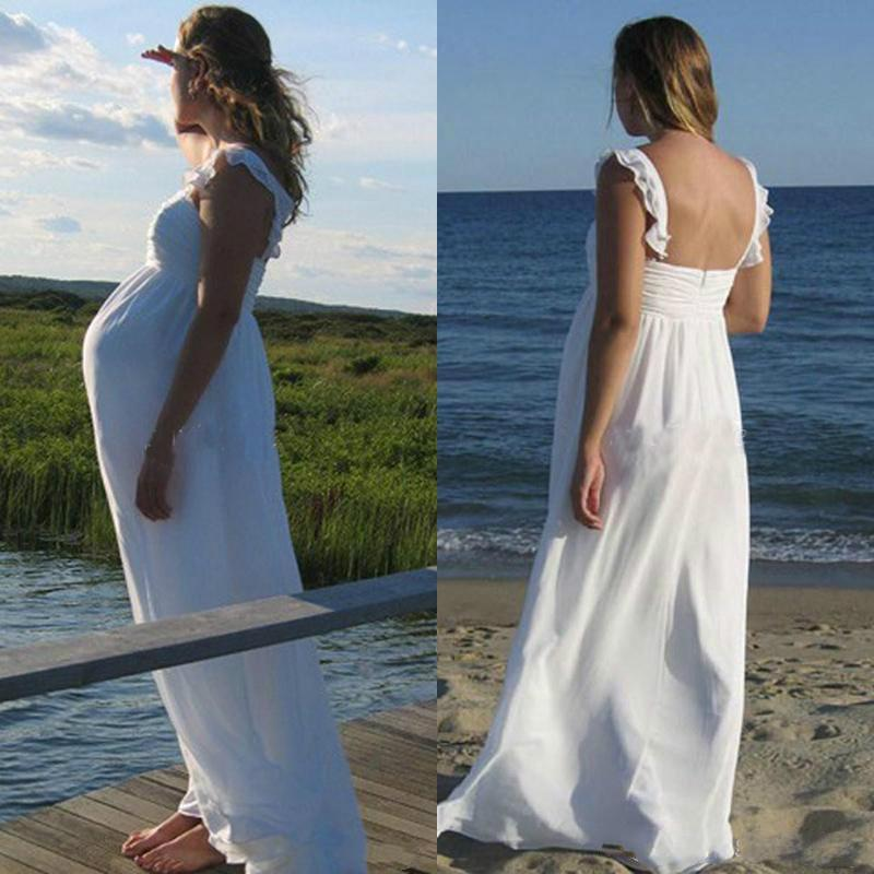 Maternity wedding dresses long white chiffon spaghetti for Plus size maternity wedding dresses