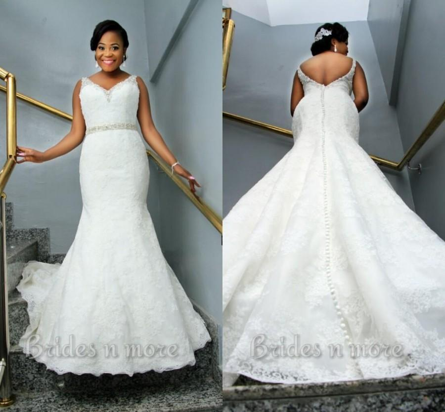 Vintage mermaid lace plus size wedding dresses 2015 v neck for Vintage wedding dresses plus size